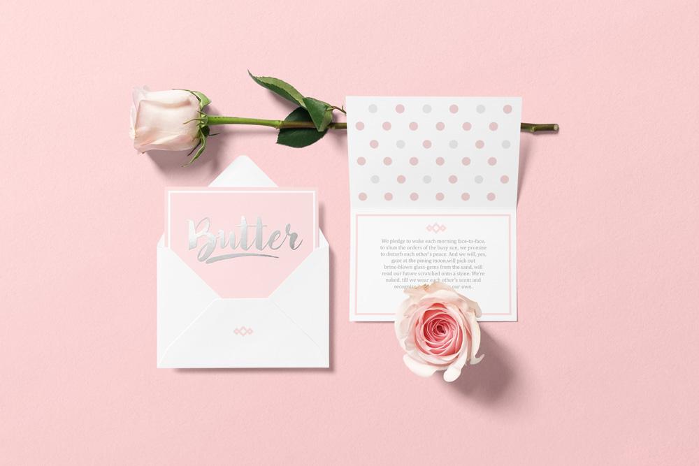 Floral Mockups Envelope Psd