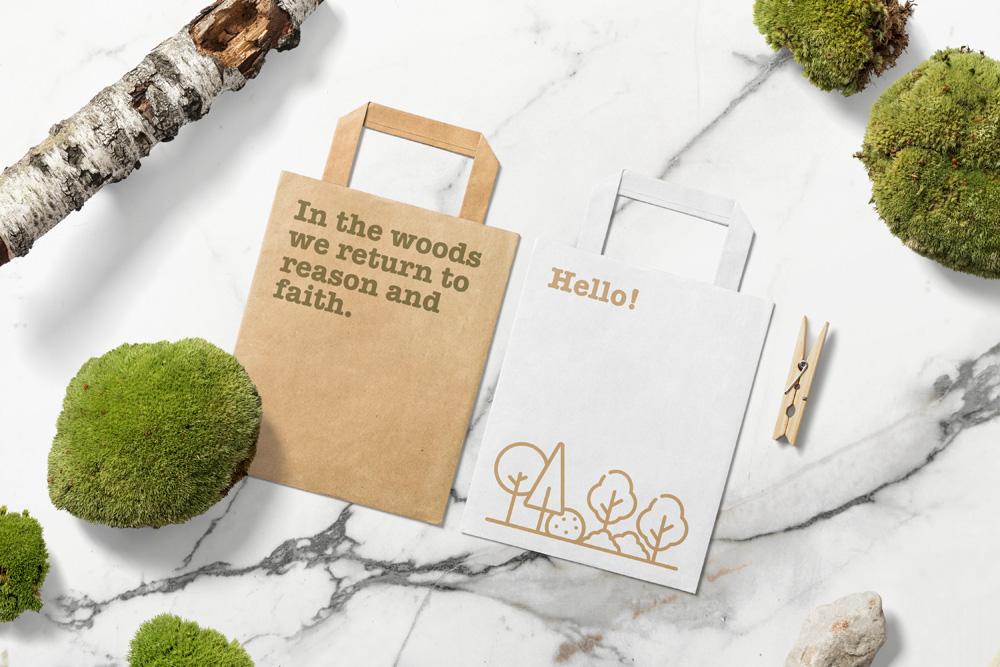 Floral Mockups Paper Bag Psd