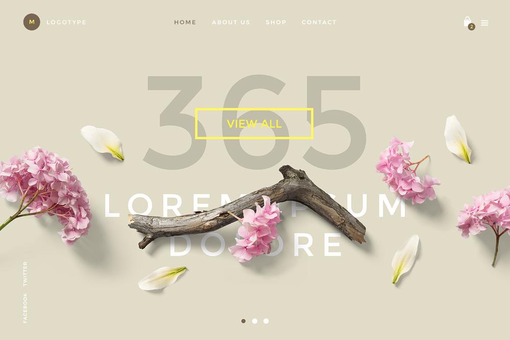 Floral Mockups Website Template Psd