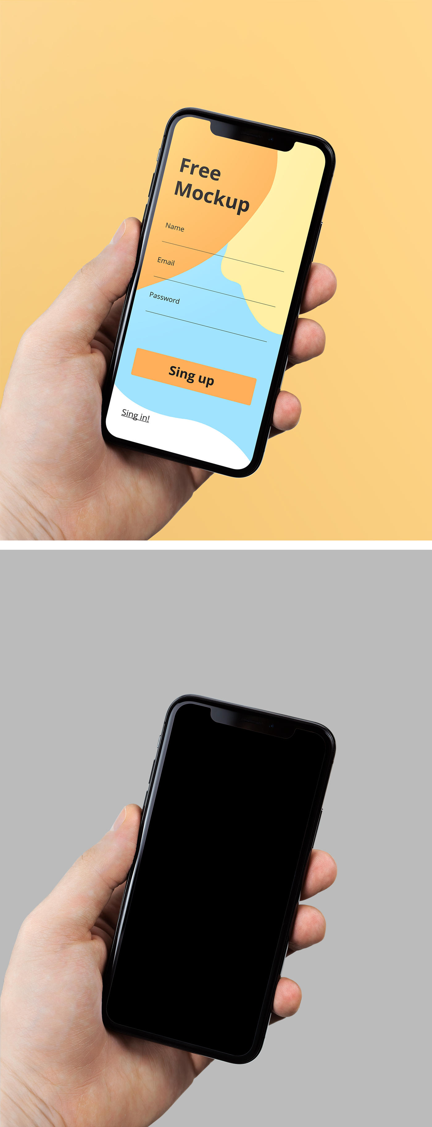 iPhone X in Hand Mockup