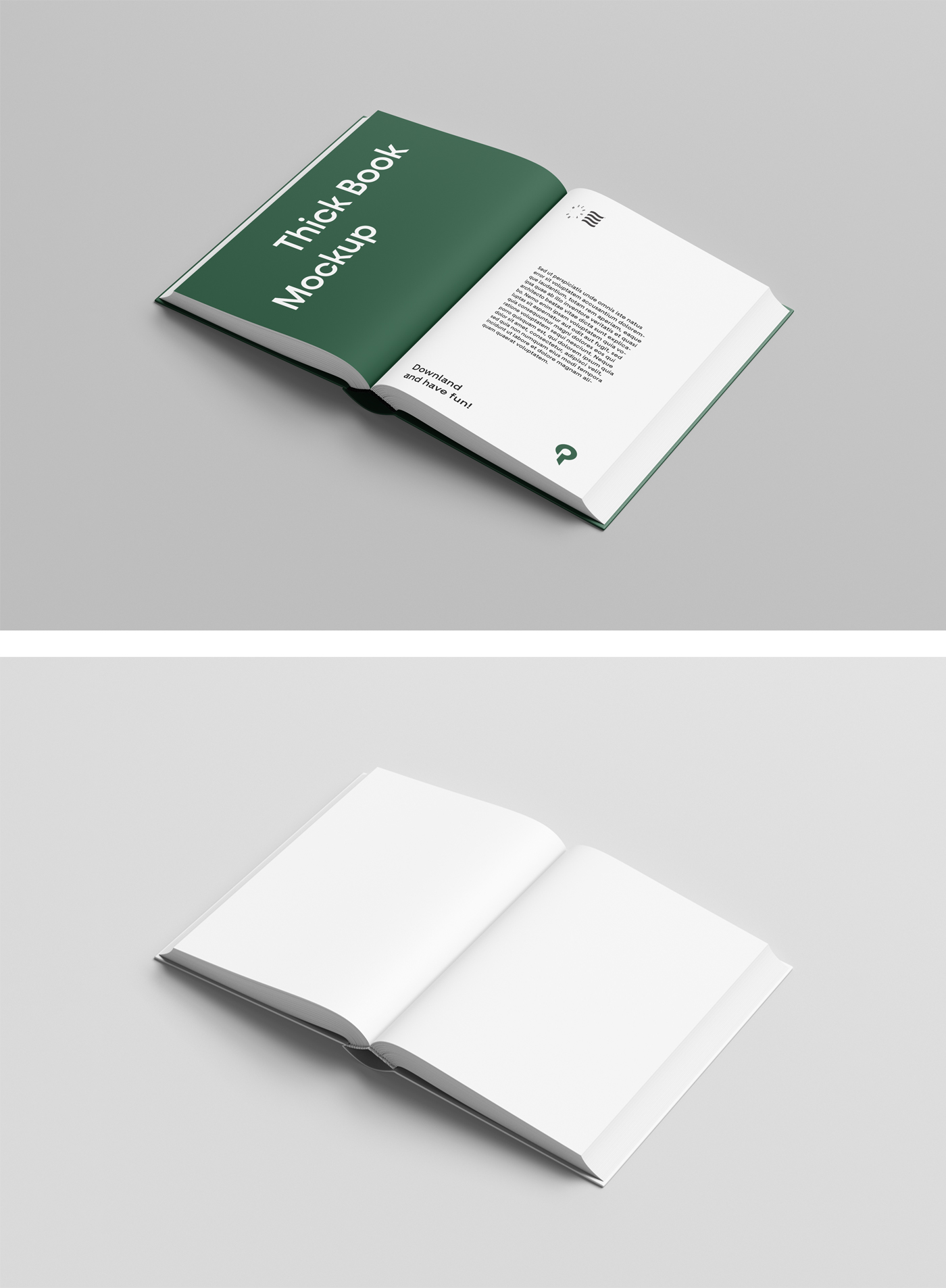 Hard Cover Open Book Mockup