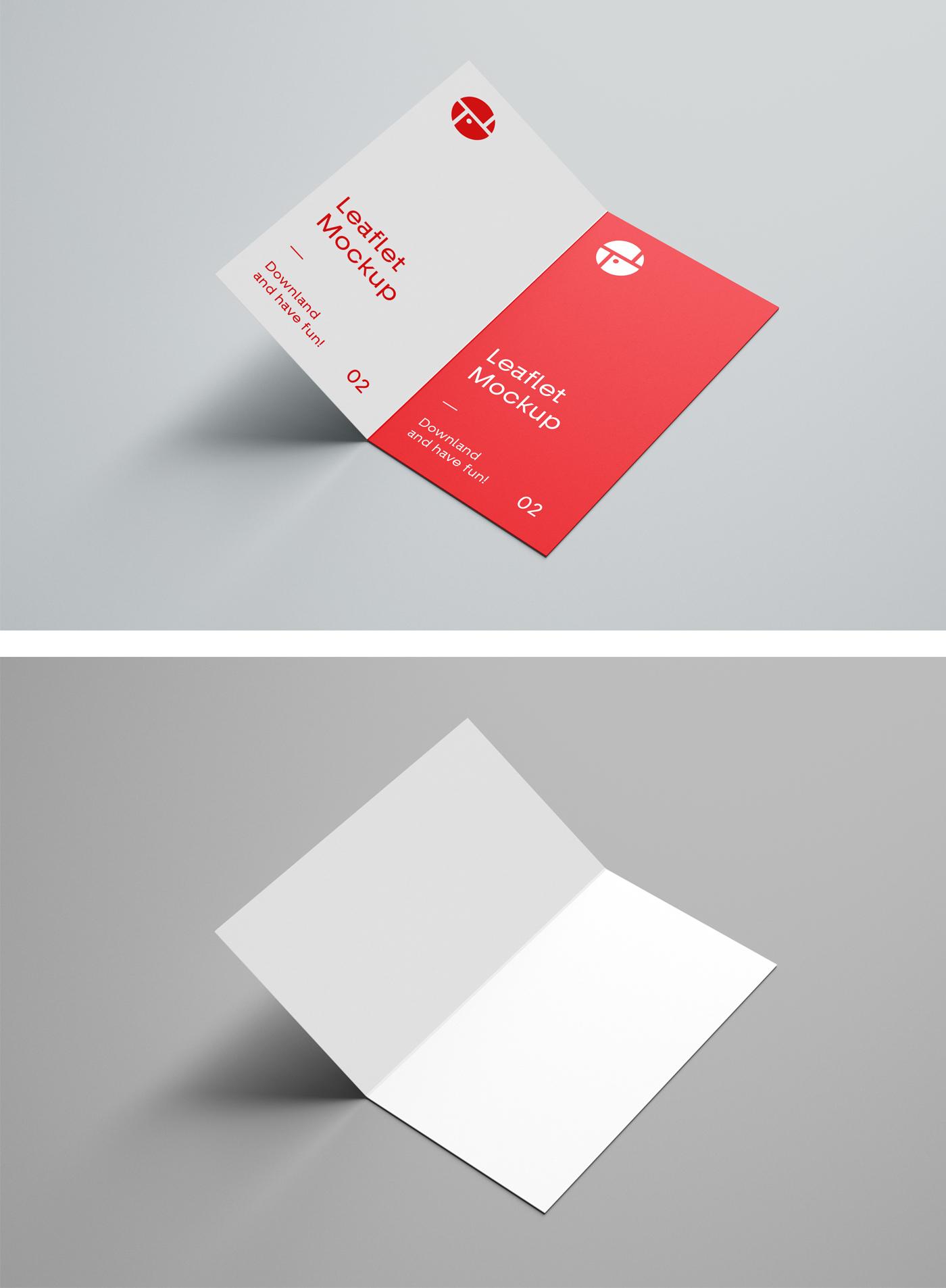 Open Two Fold Brochure Mockup