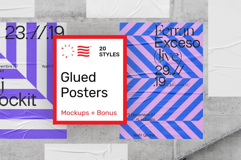 Glued Poster Mockups