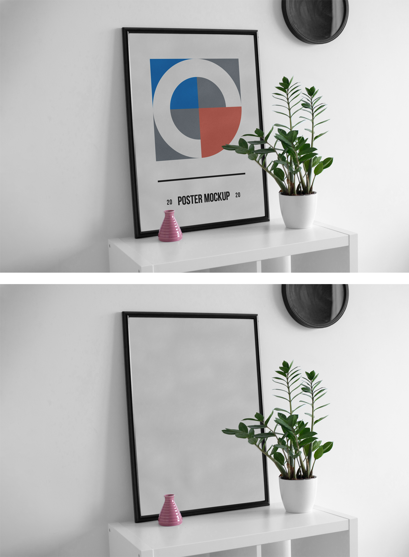 Poster on Desk PSD Mockup
