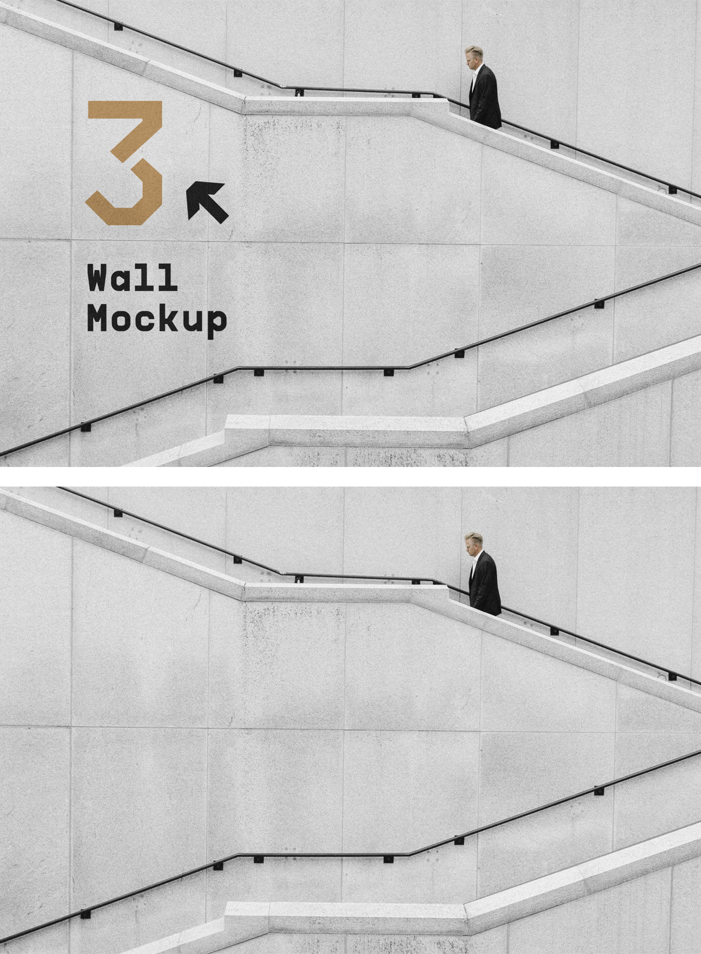 Wall with Stairs Mockup