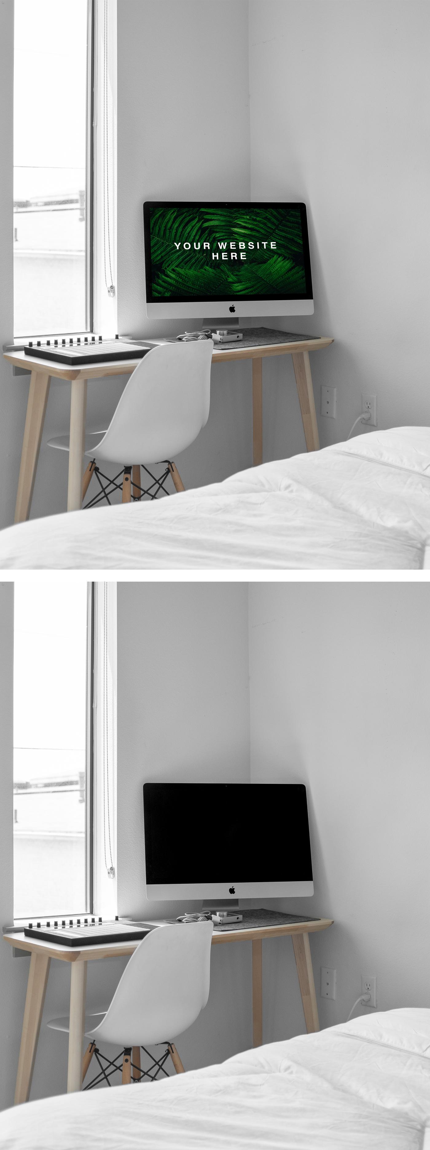 iMac在房间里的PSD样机