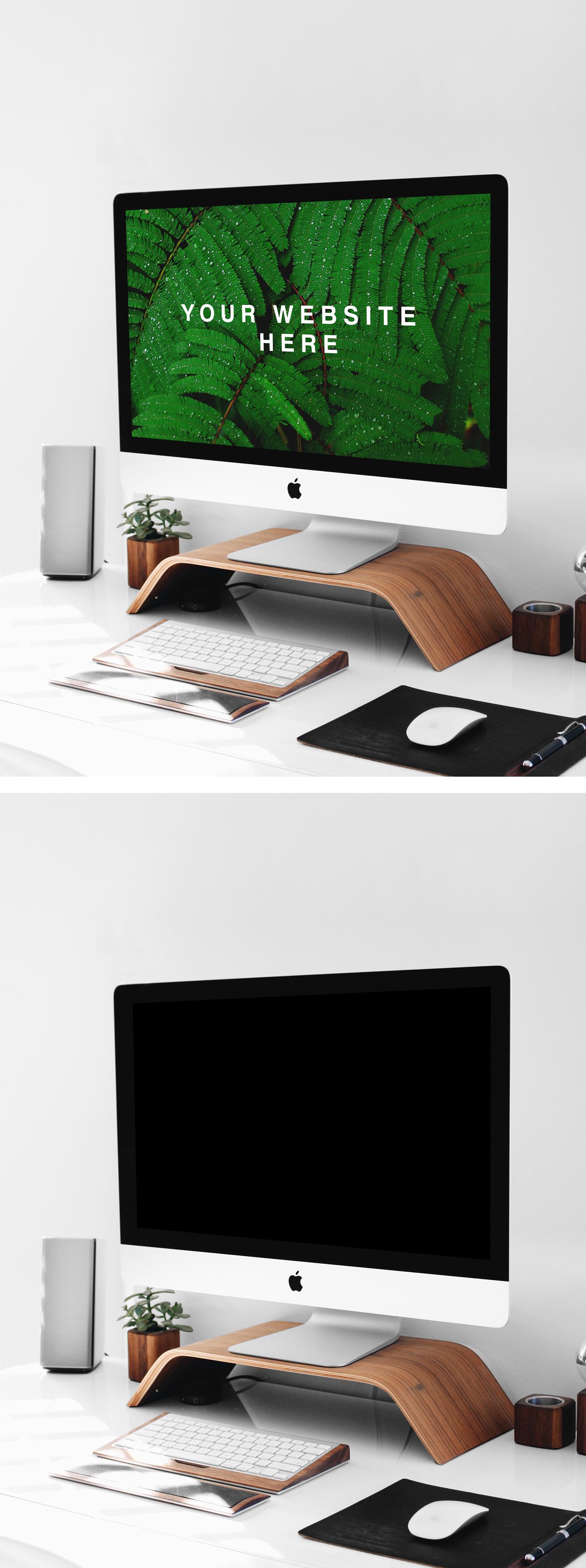 iMac on Stand PSD Mockup