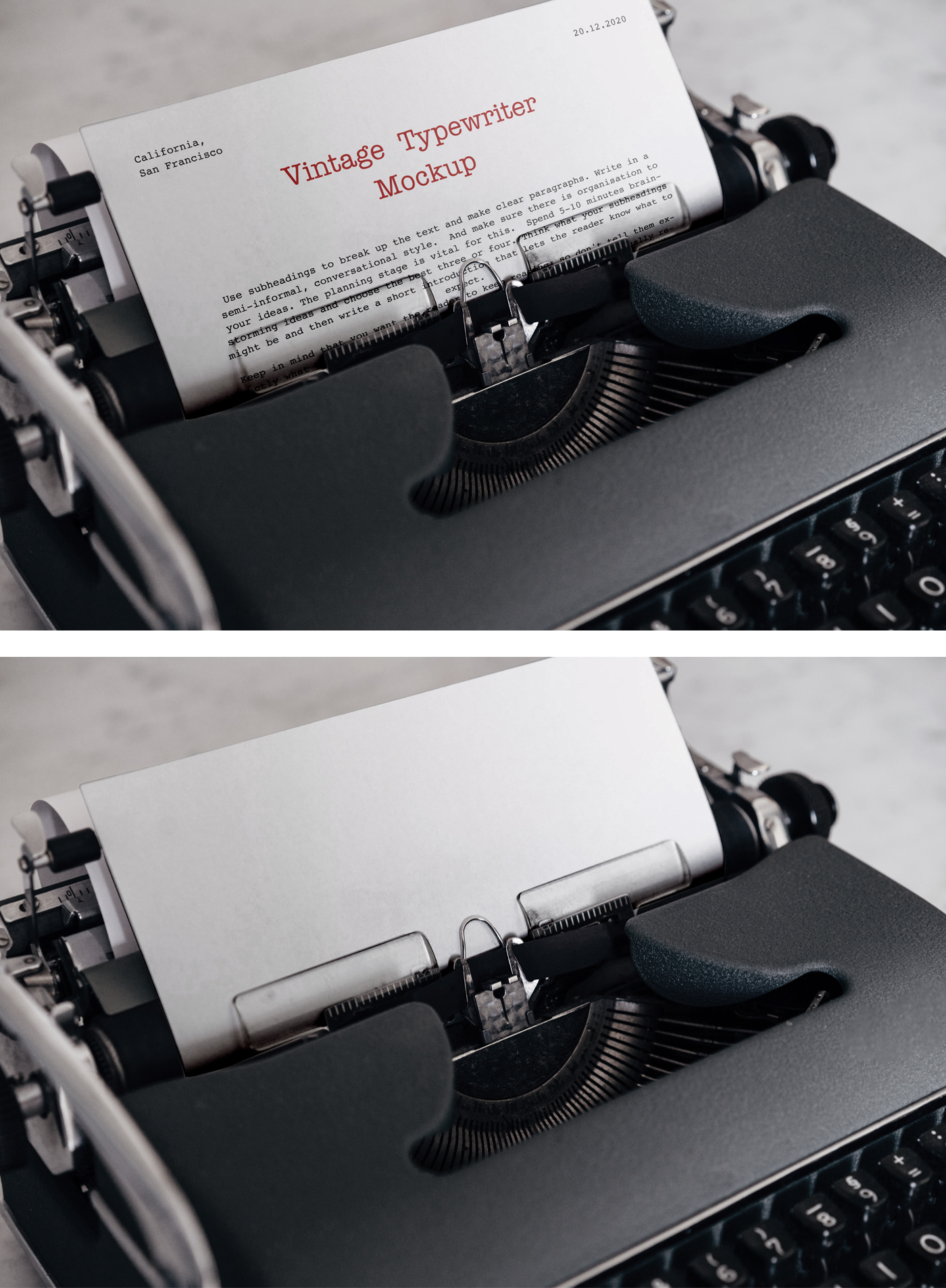 Vintage Typewriter Mockup