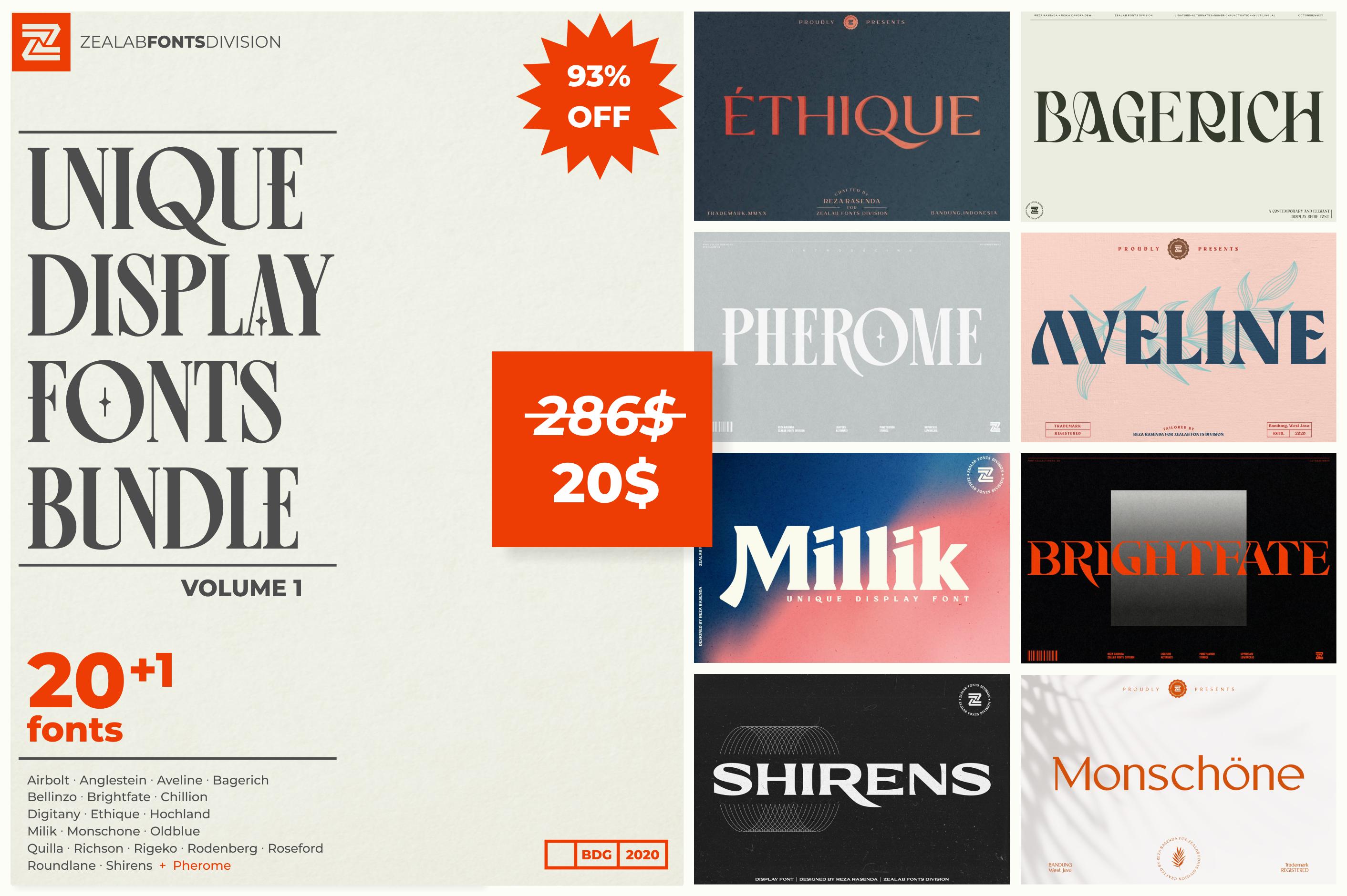 Unique Display Fonts Bundle vol.1