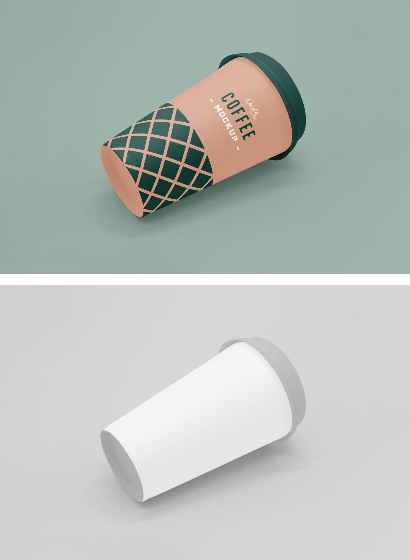 Lying Coffee Cup Mockup