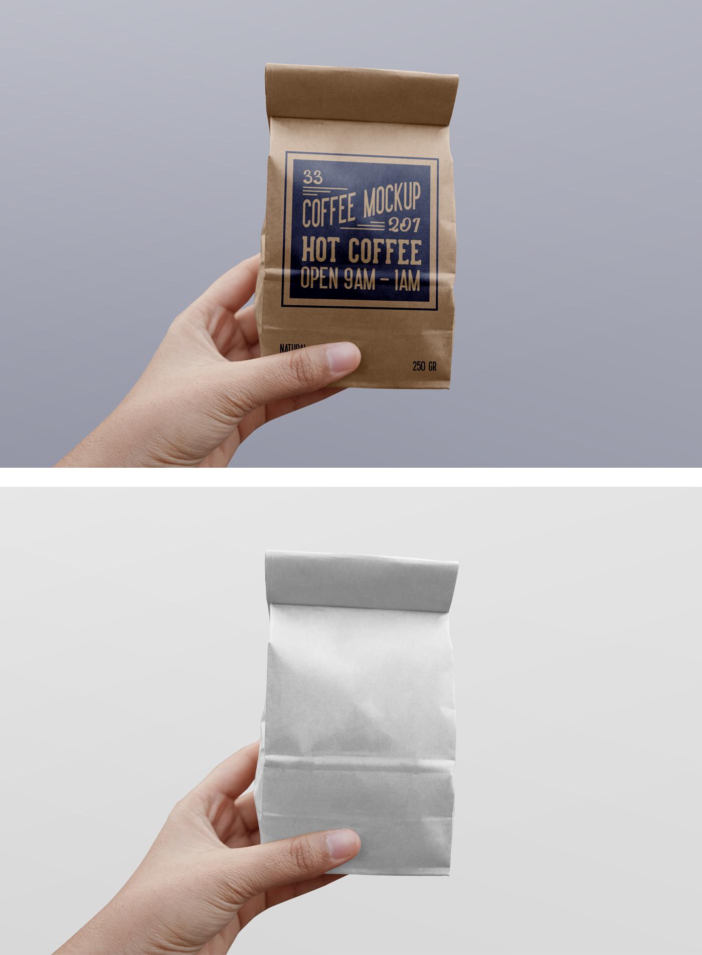 Paper Coffee Bag PSD Mockup