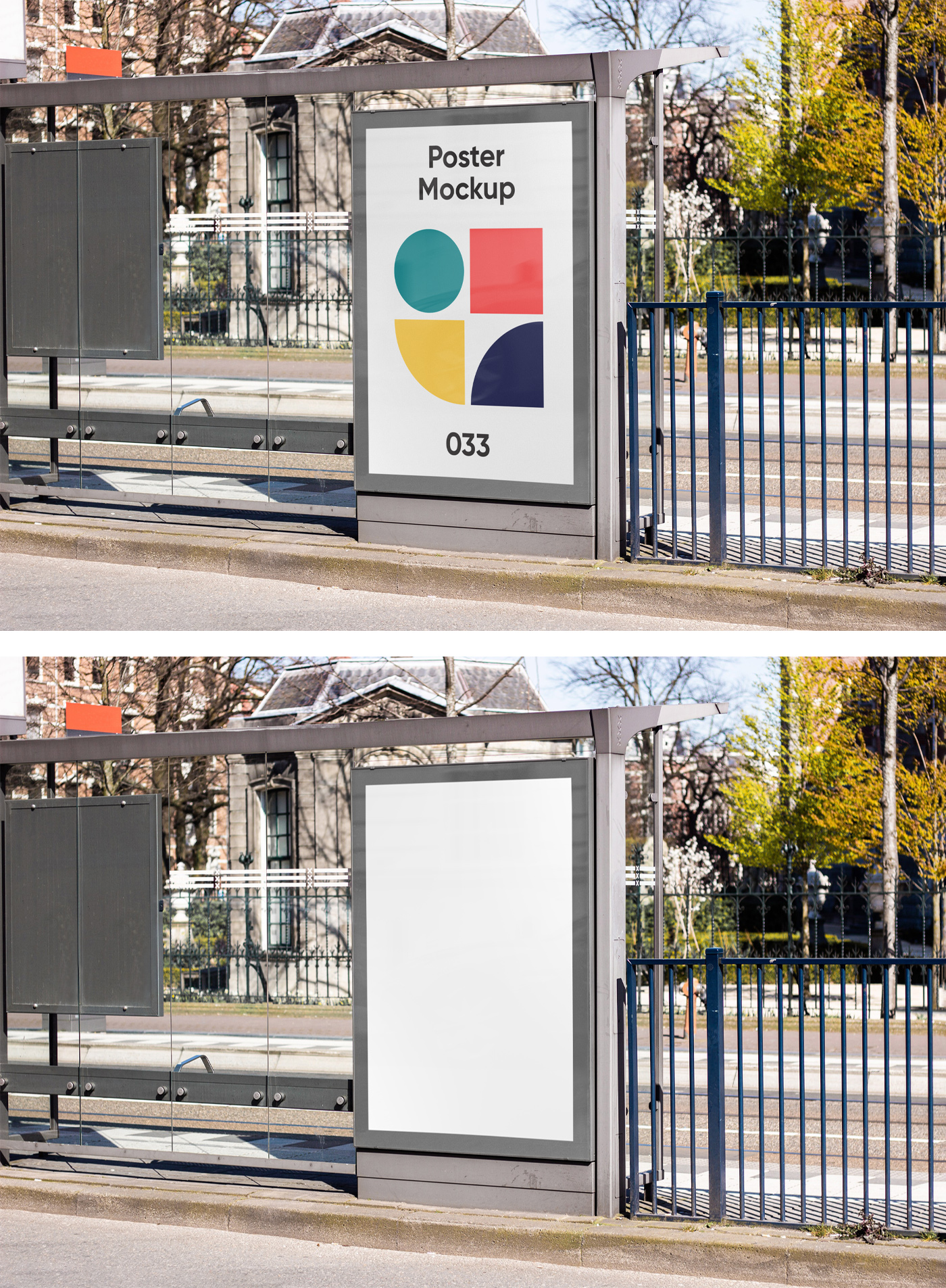 Poster on Bus Stop Mockup