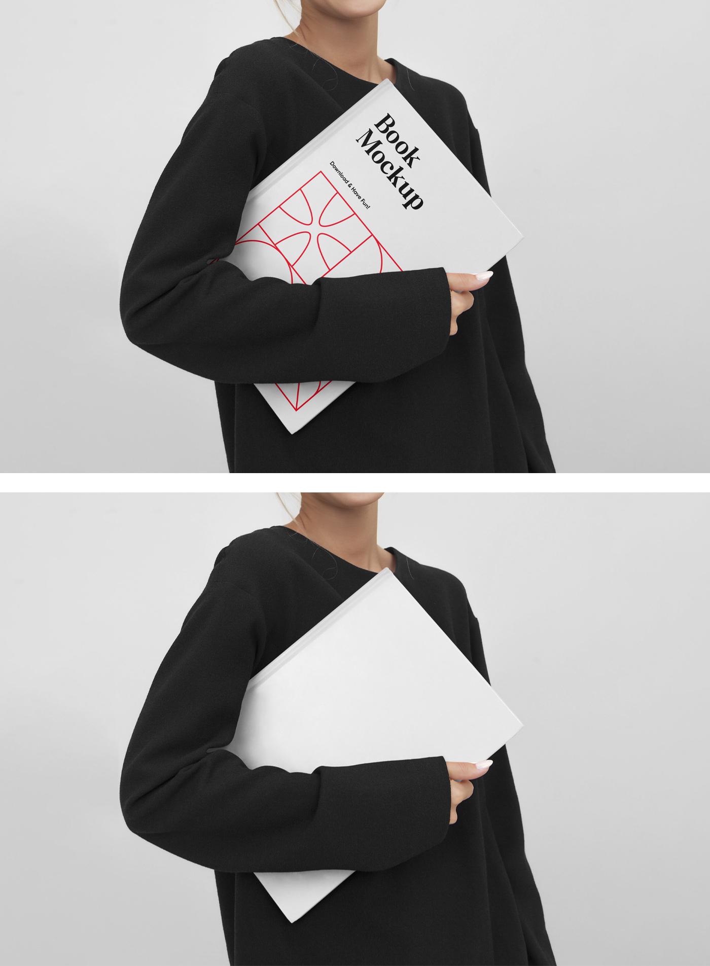 妇女拿着书样机